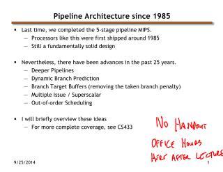 Pipeline Architecture since 1985