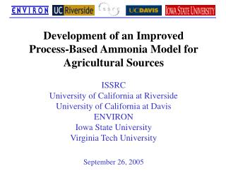 Development of an Improved  Process-Based Ammonia Model for Agricultural Sources