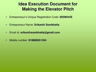 Idea Execution Document for Making the Elevator Pitch