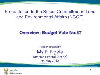 Overview: Budget Vote No.37