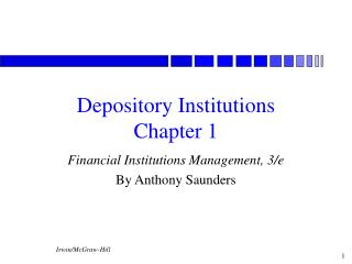 Depository Institutions  Chapter 1