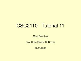 CSC2110   Tutorial 11