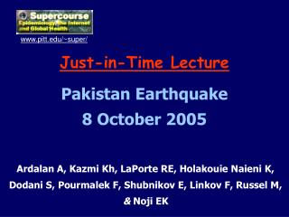 Just-in-Time Lecture Pakistan Earthquake 8 October 2005