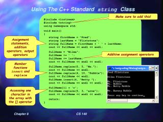 Using The C++ Standard  string  Class