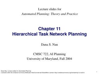 Chapter 11  Hierarchical Task Network Planning