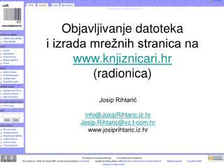 Objavljivanje datoteka  i izrada mrežnih stranica na  knjiznicari.hr (radionica)