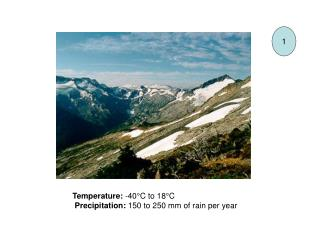 Temperature:  -40°C to 18°C  Precipitation:  150 to 250 mm of rain per year