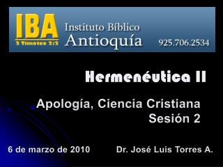 Apología ,  Ciencia Cristiana Sesión  2