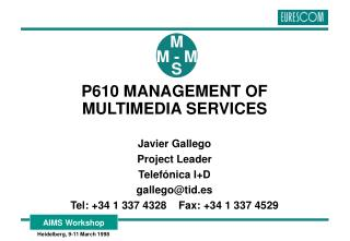 P610 MANAGEMENT OF MULTIMEDIA SERVICES