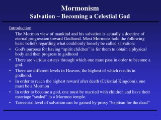 Mormonism Salvation – Becoming a Celestial God