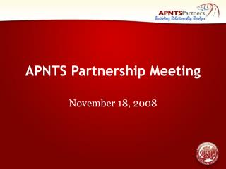 APNTS Partnership Meeting