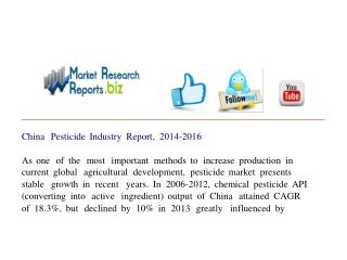 China Pesticide Industry Report, 2014-2016