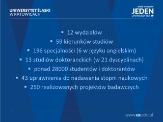 12 wydziałów 59 kierunków studiów 196 specjalności (6 w języku angielskim)
