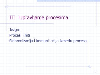 IIIUpravljanje procesima