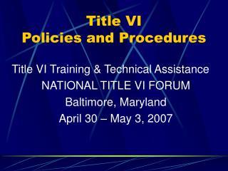 Title VI Policies and Procedures
