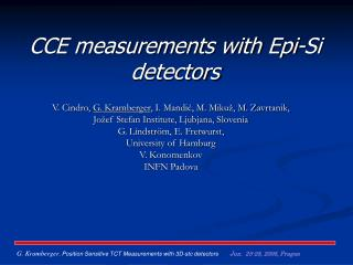 CCE measurements with Epi-Si detectors