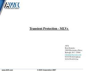 Transient Protection - MLVs