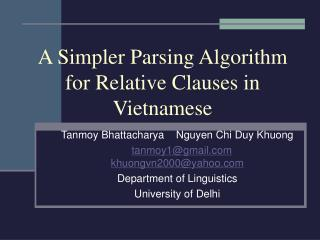 A Simpler Parsing Algorithm for Relative Clauses in Vietnamese