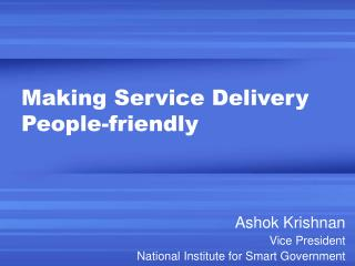 Making Service Delivery People-friendly