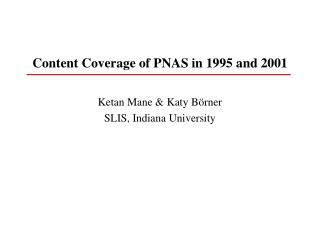 Content Coverage of PNAS in 1995 and 2001