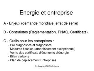 Energie et entreprise