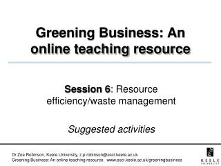 Greening Business: An online teaching resource