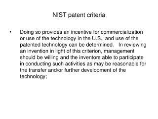 NIST patent criteria