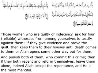 Those women who are guilty of indecency, ask for four