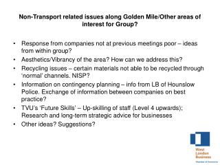 Non-Transport related issues along Golden Mile/Other areas of interest for Group?