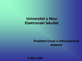 Univerzitet u Nisu Elektronski fakultet