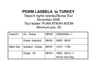PSWM LASBELA  to TURKEY  7days/4 nights Istanbul/Bursa Tour  November 2008