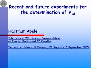 Recent and future experiments for the determination of V ud