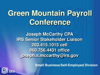 Green Mountain Payroll Conference