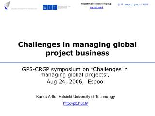 Challenges in managing global project business