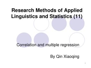 Research Methods of Applied Linguistics and Statistics (11)