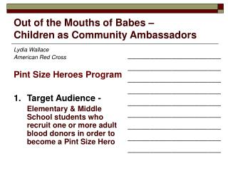 Out of the Mouths of Babes –  Children as Community Ambassadors