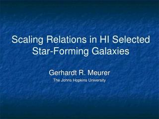Scaling Relations in HI Selected Star-Forming Galaxies