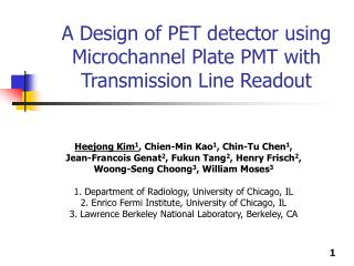 A Design of PET detector using Microchannel Plate PMT with Transmission Line Readout
