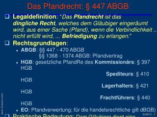 Das Pfandrecht: § 447 ABGB