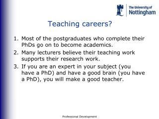 Teaching careers?