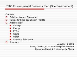 FY06 Environmental Business Plan (Site Environment)
