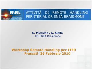 Attivit�  di  Remote handling  per ITER al CR ENEA  Brasimone