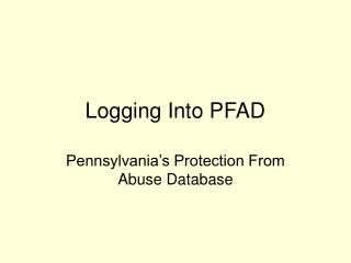Logging Into PFAD