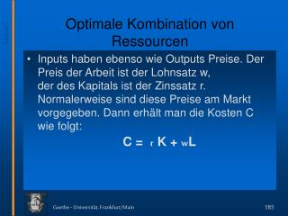 Optimale Kombination von Ressourcen