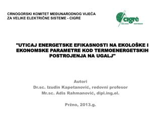 Autori Dr.sc. Izudin Kapetanović, redovni profesor Mr.sc. Adis Rahmanović, diplg.el.
