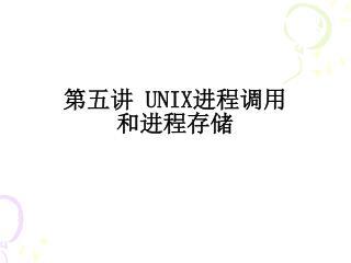 第五讲  UNIX 进程调用 和进程存储