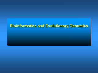 Bioinformatics and Evolutionary Genomics