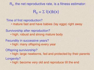 R 0 , the net reproductive rate, is a fitness estimator: