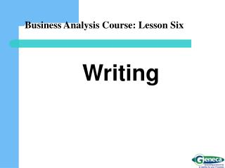Business Analysis Course: Lesson Six
