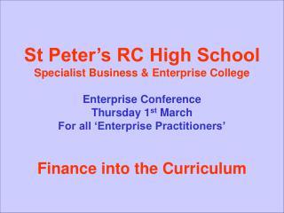 St Peter's RC High School Specialist Business & Enterprise College Danny Johnson